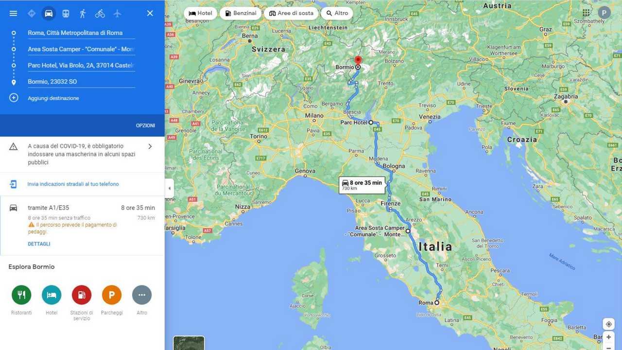 pianificazione viaggi in auto Google