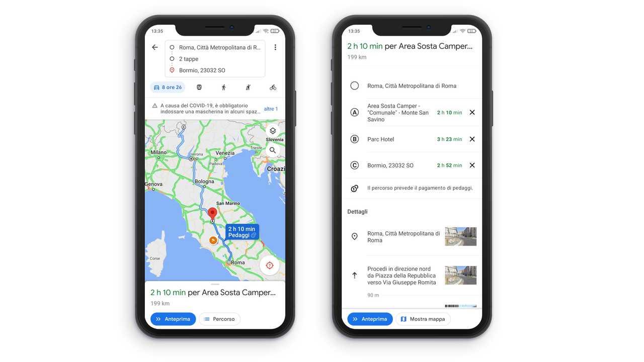 pianificazione app Google Maps